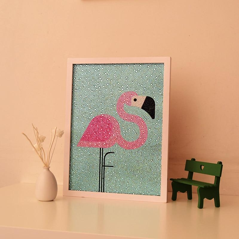 Nordic DIY Diamond Painting Cross Stitch Cartoon Flamingos Round Rhinestones Diamond Embroidery Crystals Kid s Room