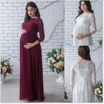 Maternity Women Wedding Dress Red Wine Evening Party Lace Elegant Pregnancy Long Loose Clothes Pregnant Woman Gown Dresses S~2XL