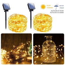 Solar String Light 10m 20m 100LED Silver wire Fairy Tale Indoor Outdoor Waterproof led Garden Family Ball Party Christmas
