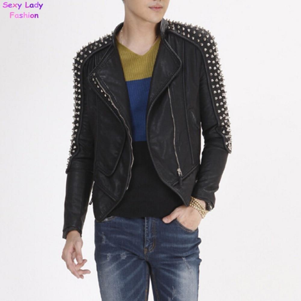 Leather jacket punk - Rivet Studs Spike Shoulder Pads Lapel Draped Pu Faux Leather Punk Biker Jacket Pub Men S Slim