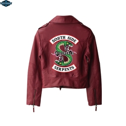 BF 2019 nowy druku Riverdale PU druku Logo Southside Riverdale węże kurtka kobiety Riverdale węże Streetwear skórzana kurtka 3