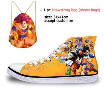 9b8224cc4463 Personalizado de moda de Dragon Ball Z impresión para hombre de alta zapatos  de lona vulcanizados
