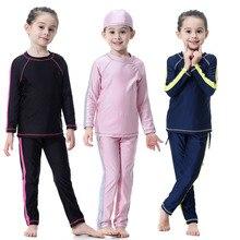 2019 Modest Long sleeve 2 piece bathing suits for kids beach swim wear UV swimsuit o-neck plus size swimwear