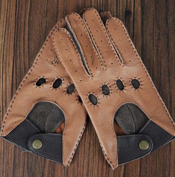 Men's Hollow Out Natural Leather Sports Motorcycle Glove Male Genuine Sheepskin Leather Riding Driving Glove R579