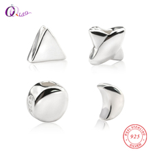 4 styles 925 sterling silver Loose Spacer Beads S925 star triangle moon round beads Bracelet Necklace Accessories diy 5pcs/lot