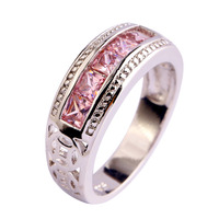 lingmei Free Shipping Pink Topaz New Popular  Silver Ring Jewelry For Women Gift Size 6 7 8 9 10 Engagement Rings Wholesale