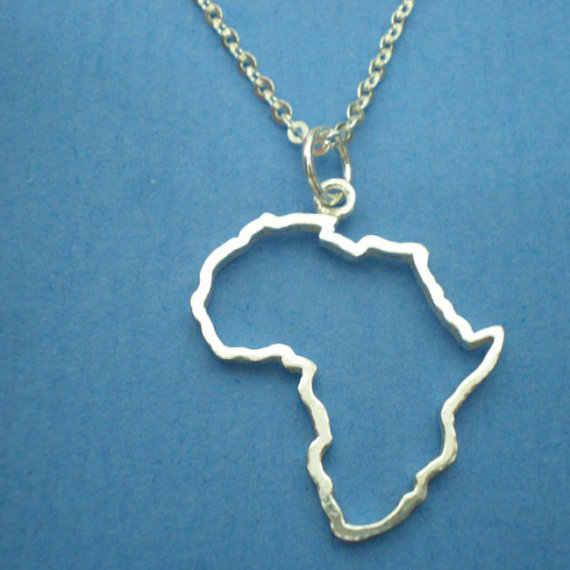 Outline แอฟริกาแผนที่สร้อยคอประเทศ South African Map สร้อยคอ Adoption เอธิโอเปียแอฟริกาทวีปสร้อยคอเครื่องประดับ