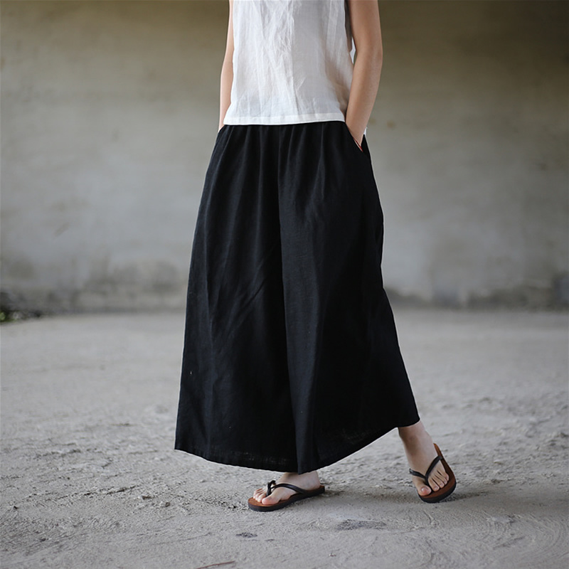 ORIGOODS Linen Plus size   Wide     leg     Pants   Women Elastic waist   Pants   Skirt Linen Solid Red Black White   Wide     leg   Trousers Women D006