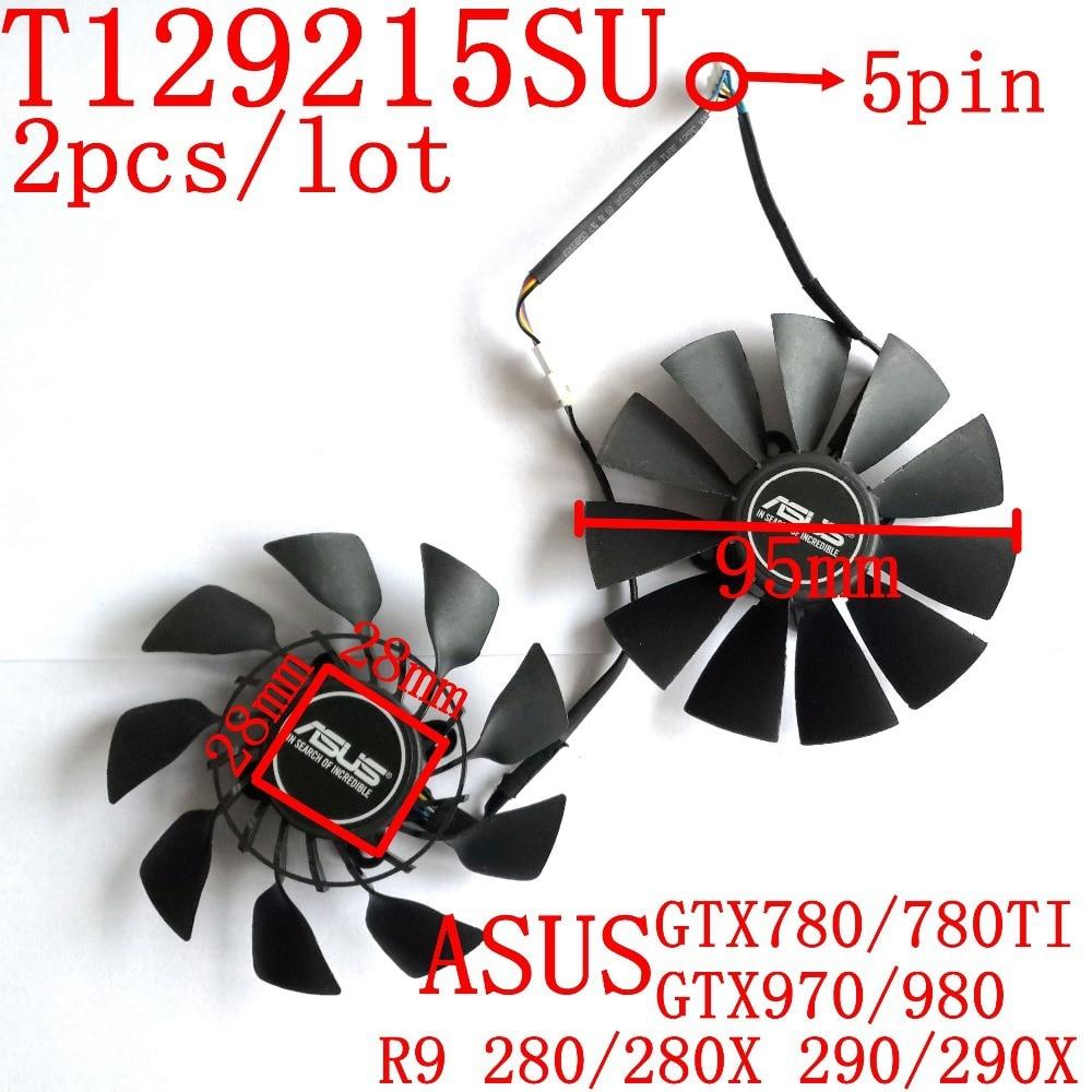 Original EVERFLOW T129215SU 2pcs/lot 12V 0.5A 28X28X28X28mm for ASUS GTX780/780TI R9 280/280X 290/290x GTX970/980 Cooling fan su gx 5s r