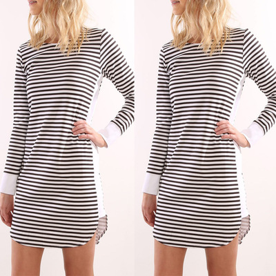 c5c12dcae7 2017 New Spring Autumn Black and White Striped Dress Fashion Long Sleeve  Loose Casual Street Style Women Clothes Dresses-in Dresses from Women's  Clothing on ...