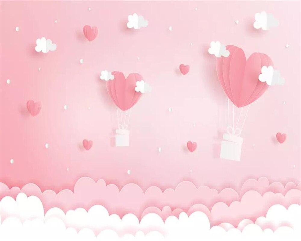 Купить с кэшбэком beibehang Custom wallpaper three-dimensional pink cloud dream princess children's room background wall living room 3d wallpaper