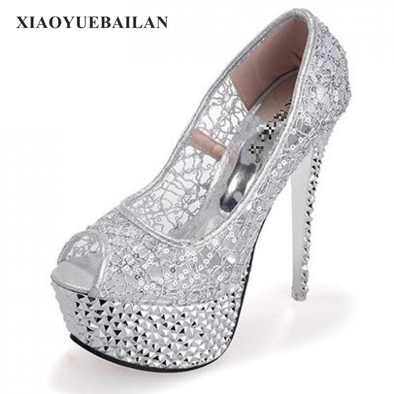2017 Summer Super High-heeled Shoes, Nightclub Waterproof Table, Sexy Lace With Fish Mouth, Women's Sandal 2015 summer women s high heeled shoes fish head shoes korea princess waterproof fine with sexy high heeled sandals