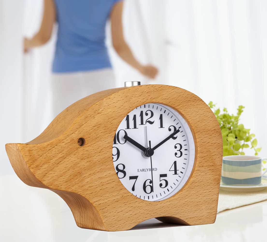 1 PCS Solid wood alarm clock elephant wood alarm clock mute creative bedroom bedside clock LU727146