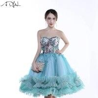 ADLN модные синие Коктейльные Вечерние Платье трапециевидной формы длиной до колен Курто де Luxo Милая Формальные Выпускной платье