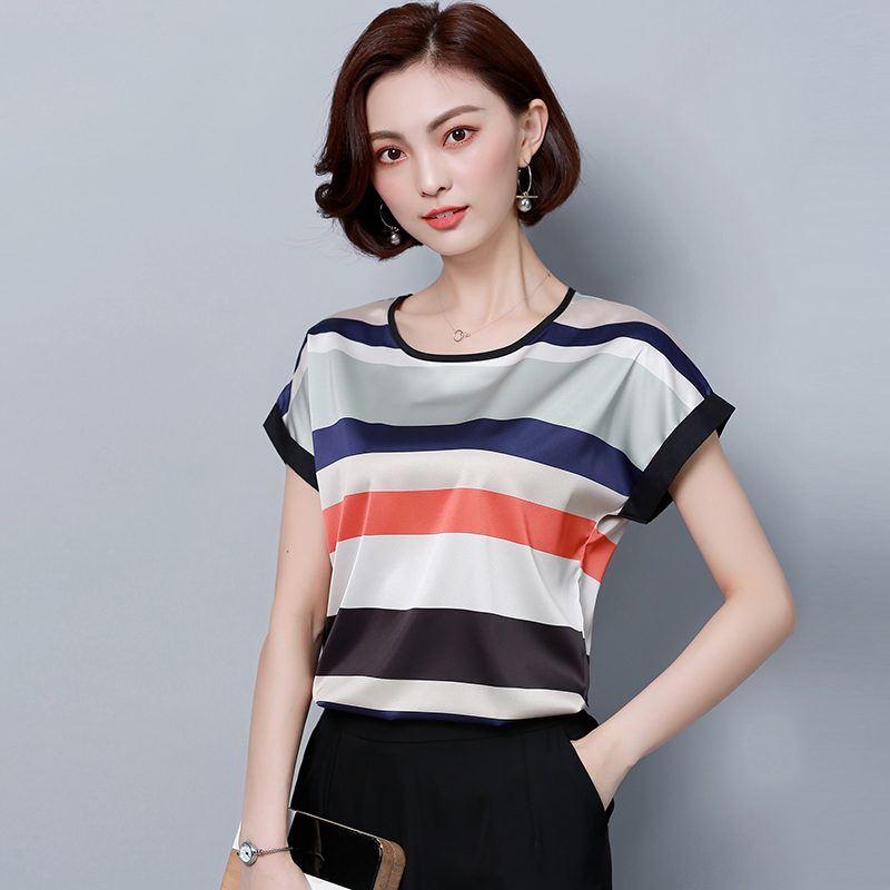 New Short sleeve striped satin   blouse     shirt   O neck plus size irregular silk   shirt   women satin silk   blouse   body tops 18A3
