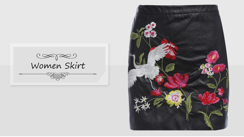 VESTLINDA Black Skirt Floral Embroidery Vintage PU Leather Pencil Skirt Women Slim High Waist Zipper Mini Ethic Plus Size Skirts 8