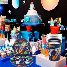 Frigg Outer Space Cup Plate Disposable Tableware Solar System Galaxy Party Supplies Happy Birthday Decoration Kids