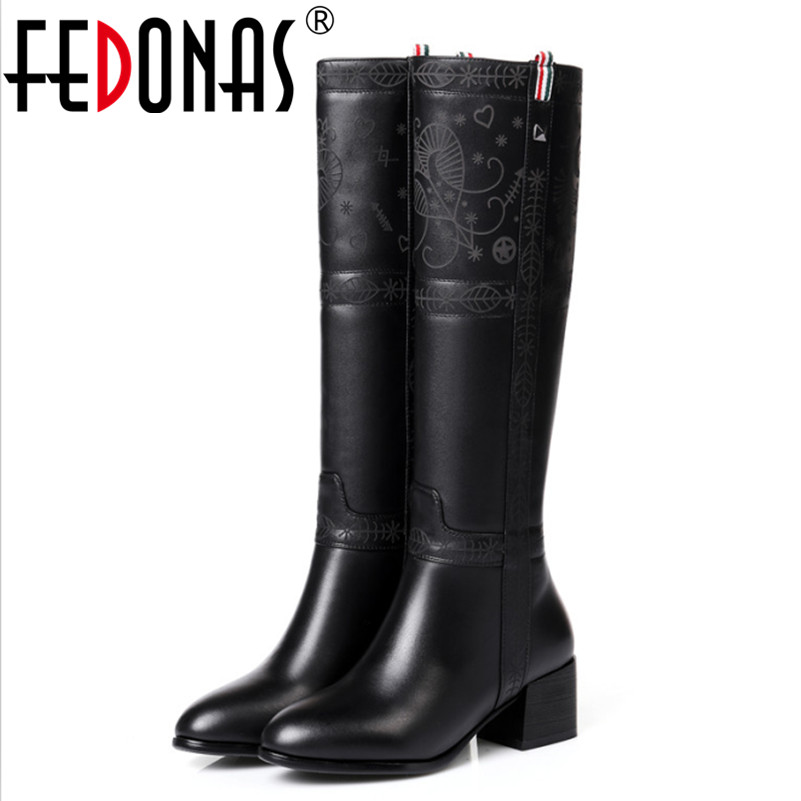 FEDONAS New Designer Women Genuine Leather Square Heel Riding Motorcycle Heel Knee High Winter Snow Boots Platform Shoes Woman scoyco motorcycle riding knee protector extreme sports knee pads bycle cycling bike racing tactal skate protective ear