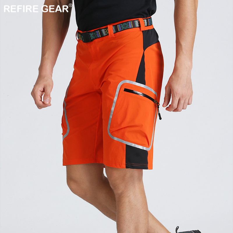 ReFire Gear Summer Outdoor Cycling Shorts Men Quick Dry Hiking Sports Shorts Reflective Lightweight Climbing Shorts with Belt