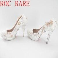 Ручной работы жемчуг стразами женская свадебная обувь на высоком каблуке 14 см Свадебная обувь на платформе Для женщин насосы 07