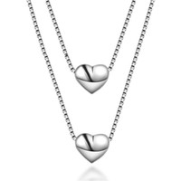 100 Silver 925 Jewelry Sterling Silver Necklace For Women Cute Double Heart Silver Pendant Come With