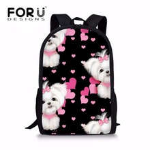 FORUDESIGNS School Backpack for Kids Maltese Florals Printing Schoolbag Children Shoulder Bags Girls Daypack Satchel