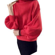 2018 Sweater Women Fashion Loose Solid Color high-necked Puff Sleeves Sweaters Wholesale Women Pullovers Vestidos MMY60020(China)