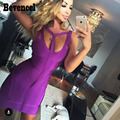 Strapy bevencel 2017 new summer dress roxo sem mangas fora do ombro bodycon bandage dress clube vestidos vestidos party dress