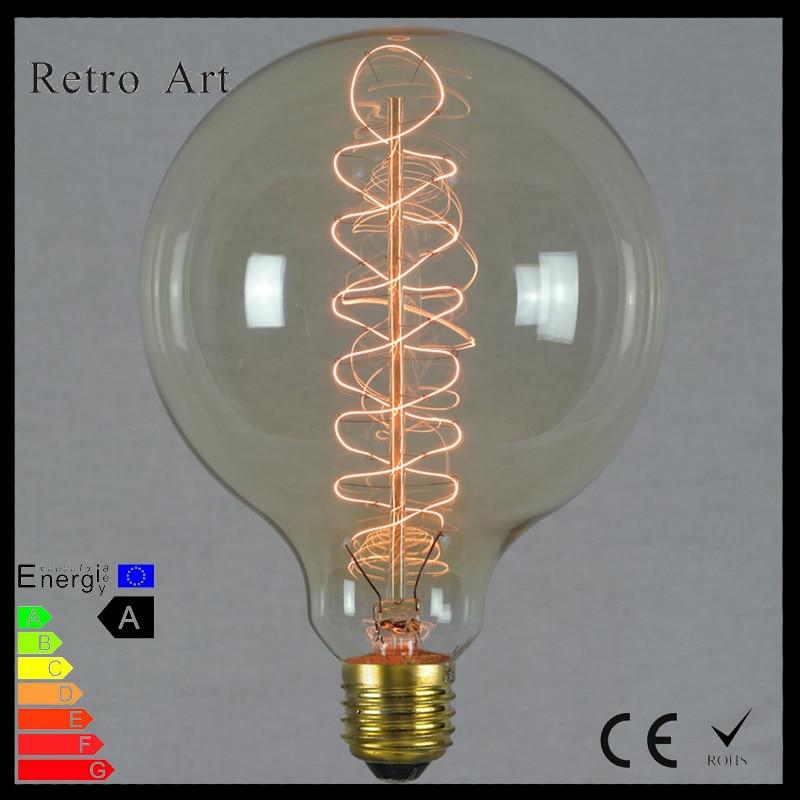 Retro globe Edison Lamp G125 40W antique Incandescent filament Light Bulb