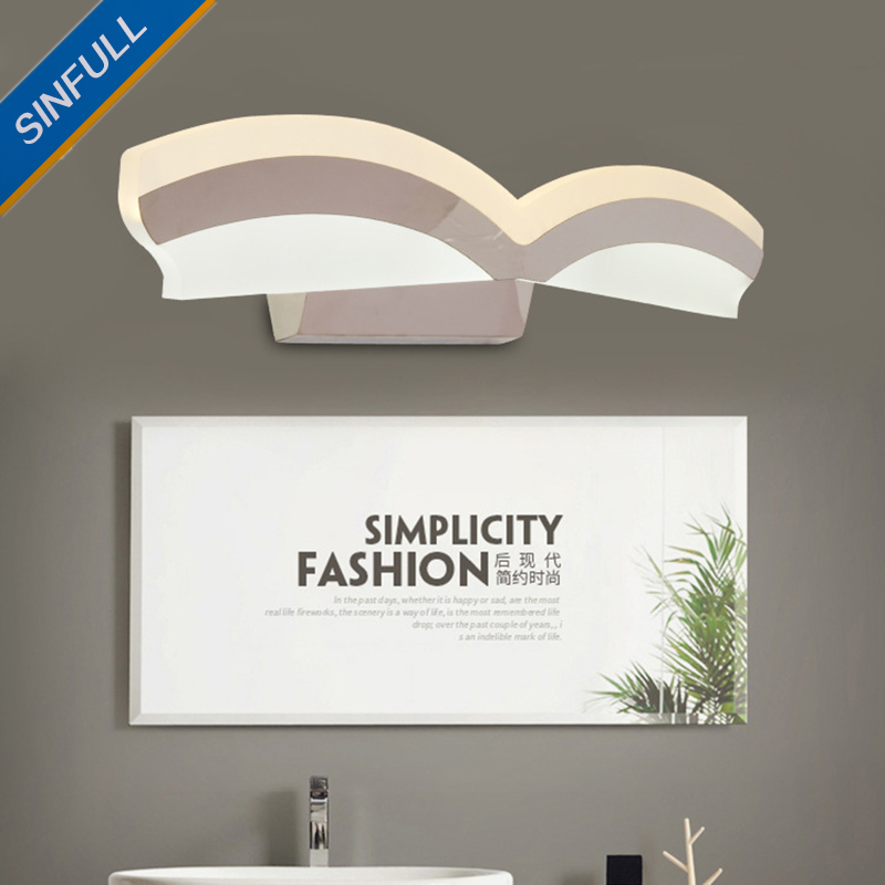 Bathroom Led Mirror Front Lamp Waterproof Anti-fog Mirror Light Simple Modern Wall Lamp Creative Dressing Table Lighting Fixture modren acryl led mirror wall lamp waterproof and anti fog dressing room makeup mirror light fixture for bathroom toilet