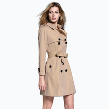 Hot Women's New Fashion Trench Coat 2017 Spring Women jackets Coats Turn-Down Collar British Style Medium Long Outwears Coat