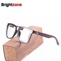Brightzone Zabytkowe Drewniane Ramiona Duży Rozmiar Twarzy Mężczyźni Kobiety Okulary Optyczne Okulary Okulary Ramki Okularów Korekcyjnych RX-w stanie