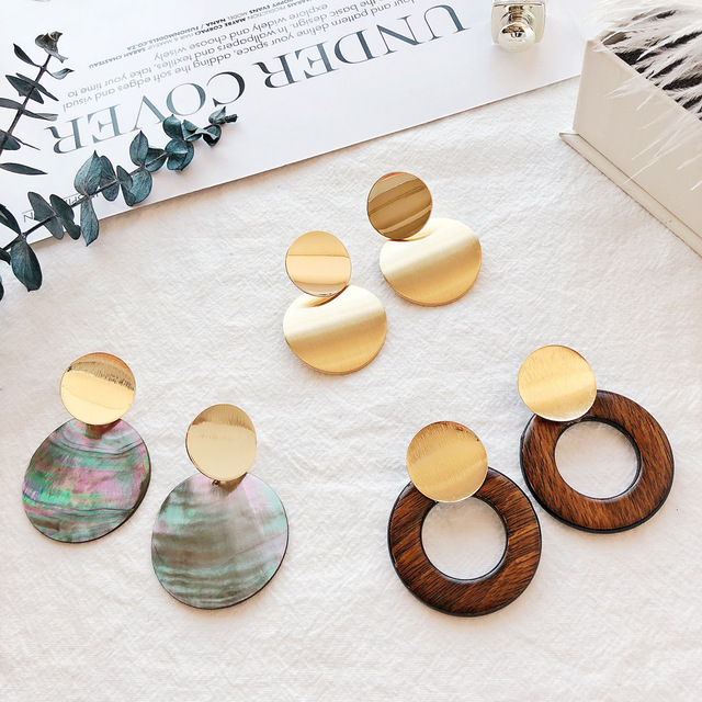 2018 New Fashion Gold Color Geometric Metal Sequins Statement Drop Earrings for