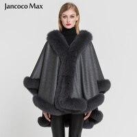 Для женщин 100% реального кашемир с лисьим мехом пончо леди мода Стиль зима Обувь на теплом меху Накидки высокое качество S7356