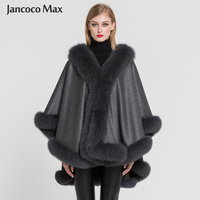 PLUS Women 100% Real Cashmere With Fox Fur Poncho Lady Fashion Style Winter Warm Fur Capes High Quality Coat S7356