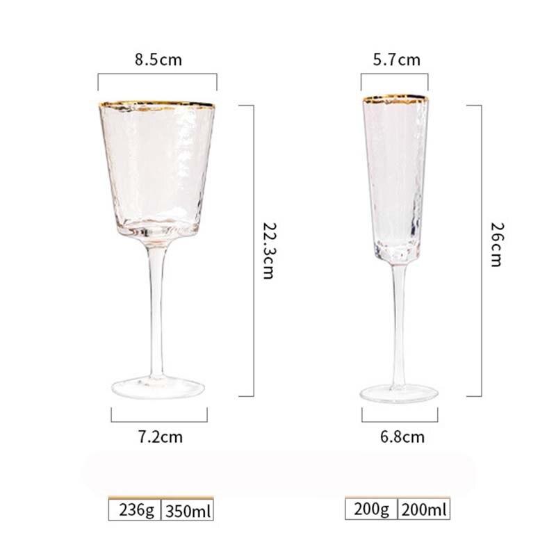 Motif de marteau créatif verre cristal cerclé or verre à vin rouge verre à champagne verre à vin européen haut de gamme