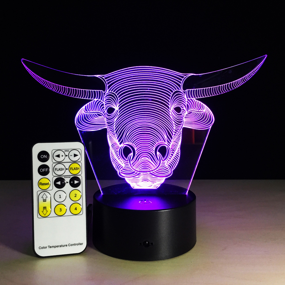 New Head 3d Lamp Creative Led 7 Colorful Touch Usb Table Lamps Acrylic  Halloween Gift Led