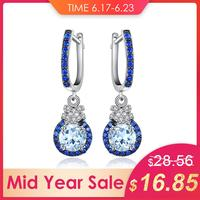 JewelryPalace Trendy Clip Earrings 1.6 ct Natural Sky Blue Topaz & Created Blue Spinel 925 Sterling Silver Earrings Fine Jewelry