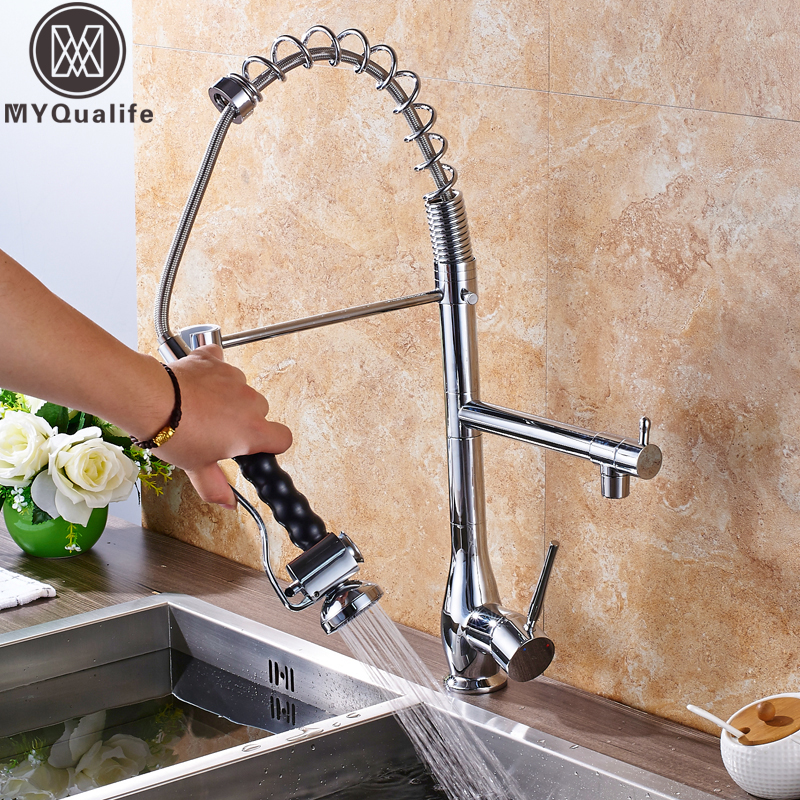 Bright Chrome Kitchen Faucet Two Swivel Spout Single Handle Brass Spring Pull Down Kitchen Mixer Sprayer Head with Lock Ring polished chrome single handle kitchen sink mixer faucet dual spout hands free sprayer with lock