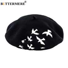 BUTTERMERE 100% Wool French Beret Women Bird Embroidery Woolen Female Black White Pink Gray Fashion Ladies Painter Hat