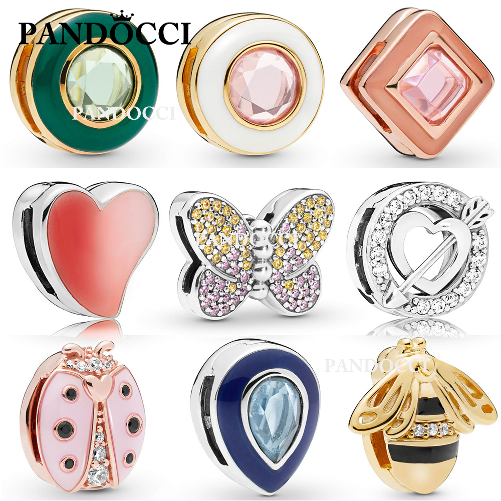 PANDOCCI 100% 925 Sterling Silver Shine Reflexions Bee Asymmetric Heart of Love Ladybird Dazzling Butterfly Droplet Clip Charm