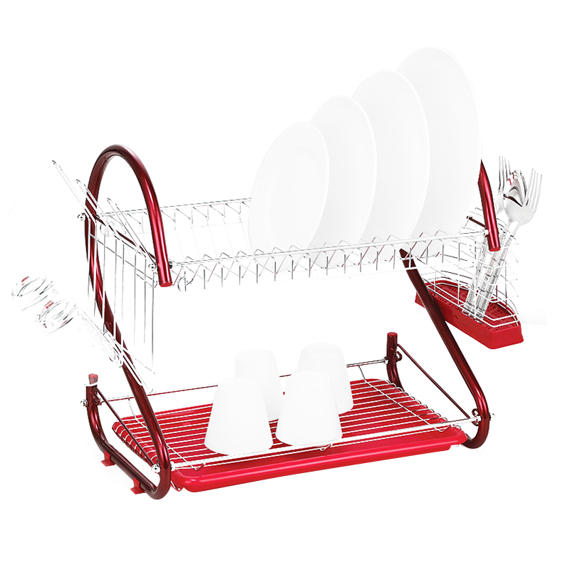 High Quality iron 2 Tiers Kitchen Dish Cup Drying Rack Drainer (Color: Red)High Quality iron 2 Tiers Kitchen Dish Cup Drying Rack Drainer (Color: Red)