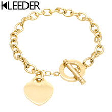 KLEEDER Fashion Stainless Steel Love Heart Shaped Bracelet Rose Gold Silver Color Titanium Bracelets for Women Jewelry