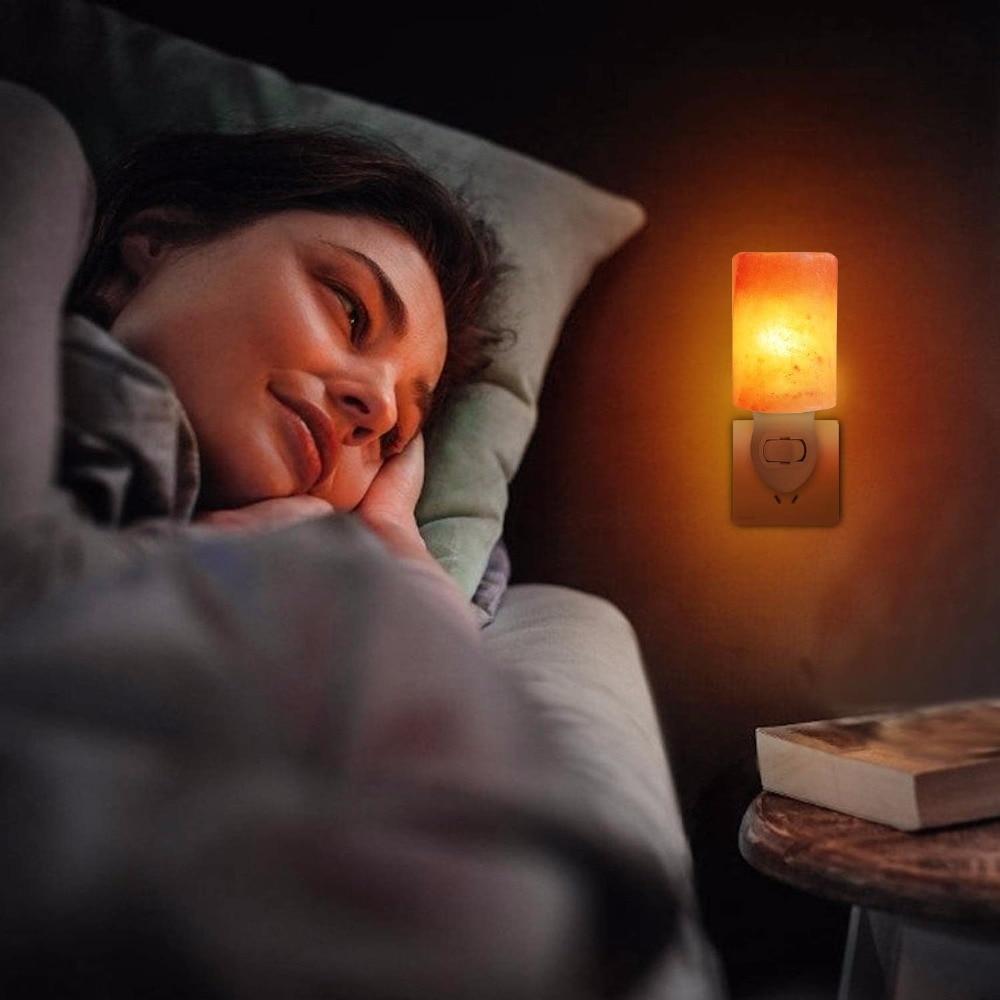 Rotatable Mini Himalayan Salt Night Light Wall Lamp Bedside Bedroom Home Decor Relieving Stress Novelty Lighting US EU UK Plug
