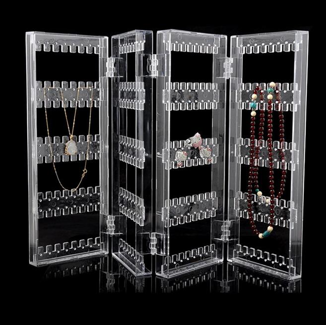 New Popular 256 Hole Foldable 4 Panel Clear Makeup Jewelry Organizer Holder Earring Stud Necklace Bracelet Storage Stand Display