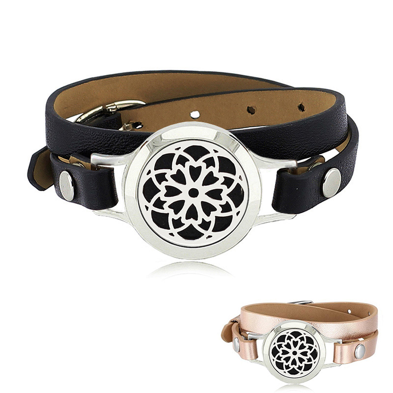 Free with Pads! Hot 25mm stainless steel magnetic essential oil diffusre bracelet with black/rose gold genuine leather band