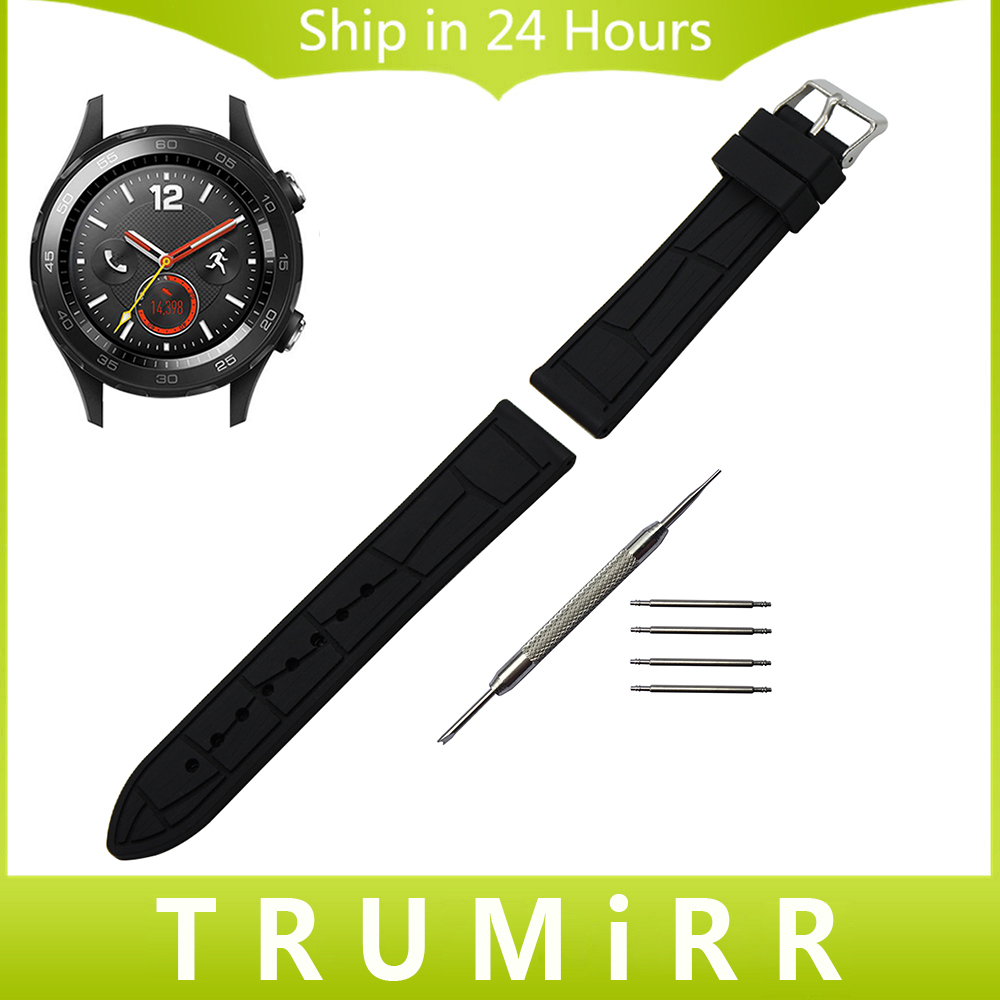 Silicone Rubber Band Croco Grain Strap + Tool for Huawei Watch 2 Pebble Time Round 20mm Bradley Timepiece Wrist Bracelet Black lucky john croco spoon big game mission 24гр 004