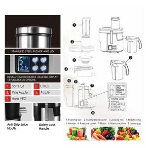 Image 4 - Machine à boire électrique de Fruit dextracteur de jus de laffichage 220V daffichage à cristaux liquides de presse agrumes dacier inoxydable de 5 vitesses pour le Sonifer à la maison