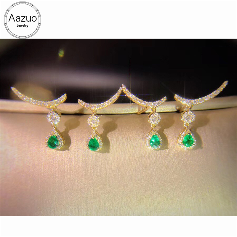 095155a3cc5c Aazuo Real 18K Yellow Gold Natural Water Drop Emerald Real Diamonds IJ SI  Moon Stud Earrings
