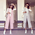 150~175 cm teenage girls clothing set 2pcs long vest +wide leg pants high fashion summer spring big kids clothes